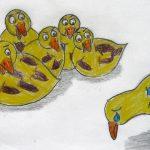 Der bunte Vogel wird von einer Gruppe Enten ausgegrenzt.