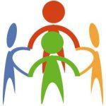 Farbige Figuren stehen im Kreis. Logo ThemenWorkshop von Udo Schmitz in Essen