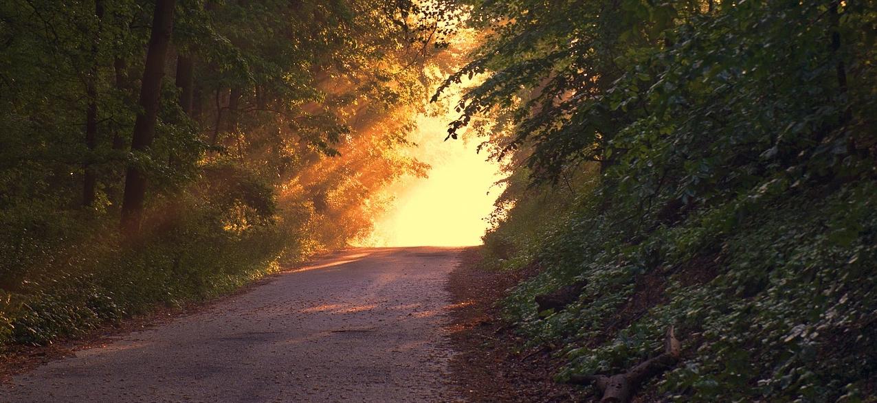 Weg der zu einem hell erleuchteten Ziel hinter der Bergkuppe führt.