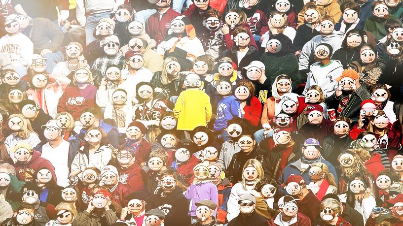 Menschenmenge, eine Person anders herum.