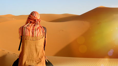 Mensch von hinten in der Wüste